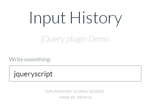 jQuery Plugin To Show Previously Entered Input Values - Input History