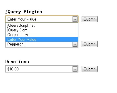 jQuery Plugin for Adding Custom Value to Dropdown List - Custom Combo Box