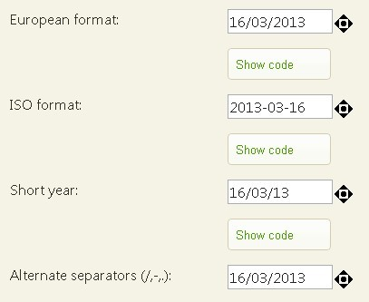jQuery Plugin for Input Field Date Format and Spinner - Date Entry