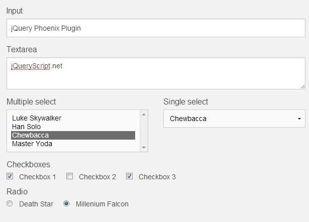 jQuery Plugin to Save Form Fields Values To localStorage - phoenix