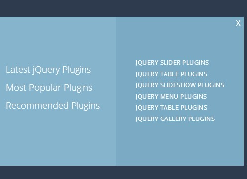 jQuery Popup Menu Plugin With CSS3 Animations - Square Menu