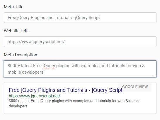 <b>Google Snippet & Facebook Link Preview Plugin With jQuery - SEO Preview</b>