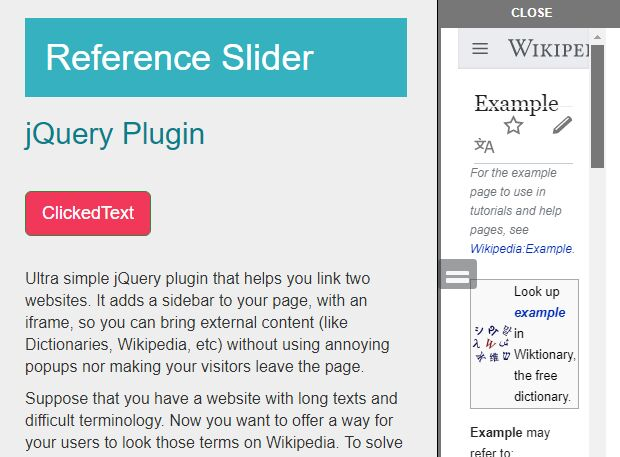 Cross-browser jQuery Sidebar Reference Plugin - slidereference