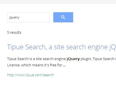 jQuery Site Search Engine Plugin - Tipue Search