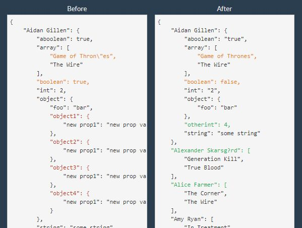 Find The Difference Between Two JSON Snippets - JSON Diff