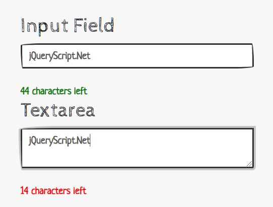Limit Characters For Text Fields - jQuery Char Count