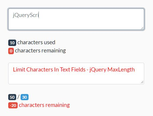 Limit Characters In Text Fields - jQuery MaxLength