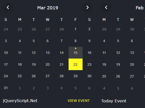 Minimal Clean Event Calendar Plugin For jQuery