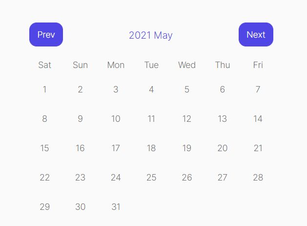 Minimalist Navigatable Calendar In jQuery