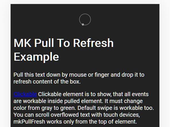 Simple Pull To Refresh For Desktop & Mobile - mkPullFresh
