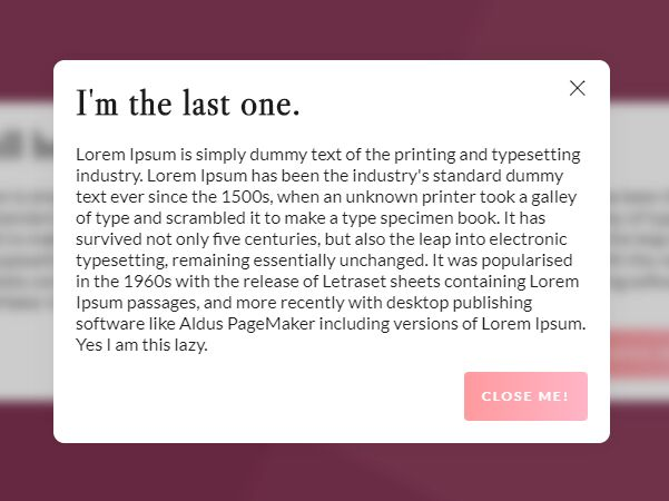 Nested Modal Windows With Blurred Background - jQuery Modally