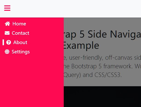 Mobile-first Off-canvas Side Navigation For Bootstrap 5