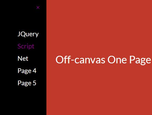 Off-canvas One Page Scroll Navigation In jQuery