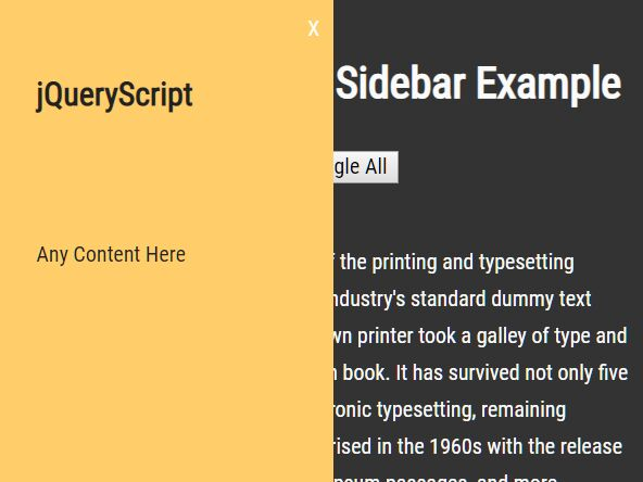 Simple Off-canvas Sidebar Nav/Pane In jQuery