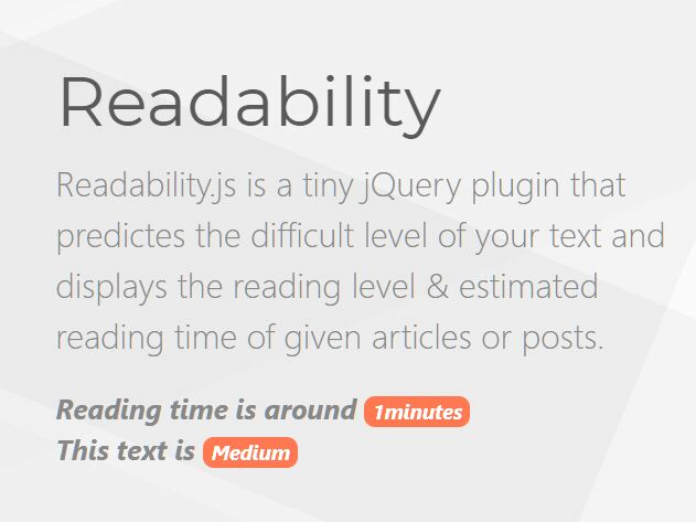 Calculate Readablity & Reading Time Of Text - readability.js