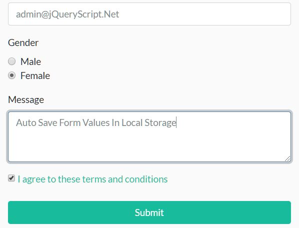 Auto Save Form Values In Local Storage - jQuery saveStorage