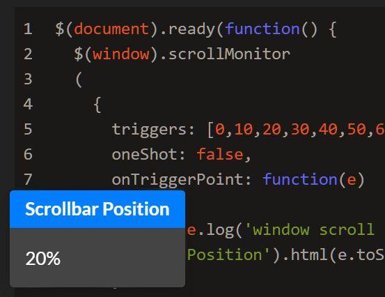 Determine Browser Scroll Percentage In jQuery - ScrollMonitor
