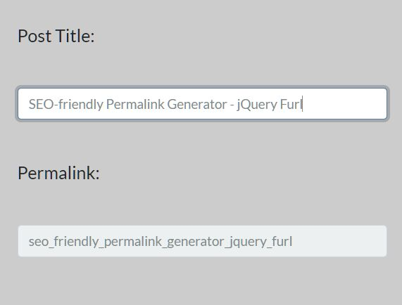 SEO-friendly Permalink Generator - jQuery Furl