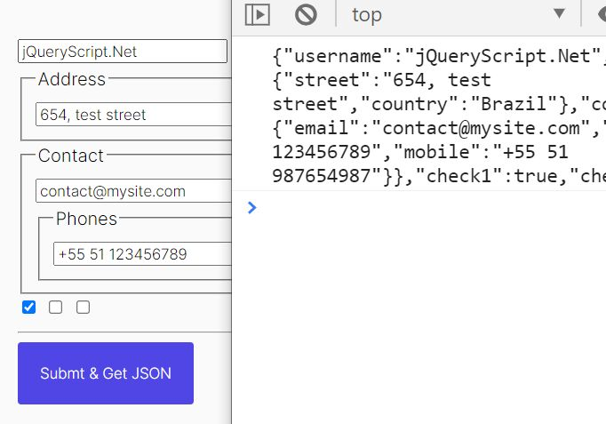 Serialize HTML Form To JavaScript Object - serializeFields