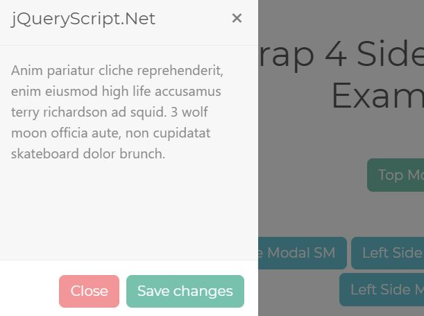 Create Top/Bottom/Side Drawers Using Bootstrap Modal Component