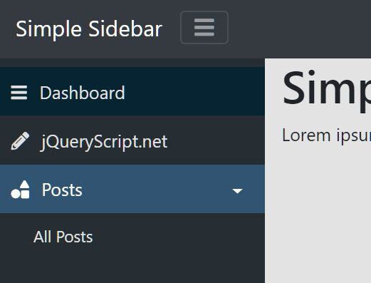 Collapsible Sidenbar Navigation For Dashboard - SimpleSidebar
