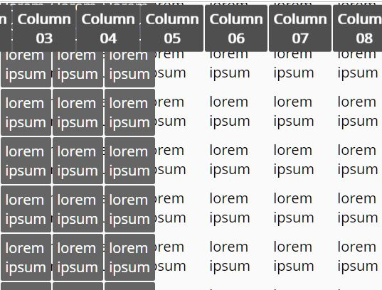 Create Freezed Thead And Columns In Table - stickyColumn