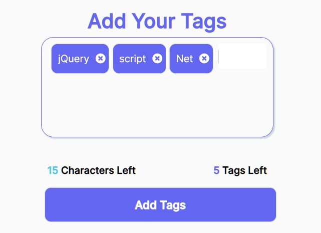 Tags Input With Character/Tag Counter Using jQuery