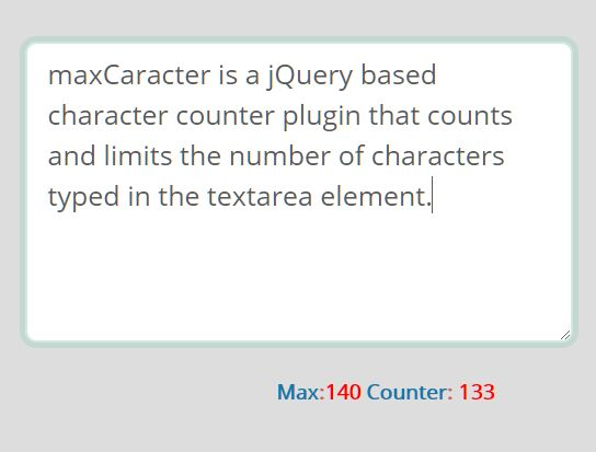 Configurable Character Counter For Textarea - jQuery maxCaracter