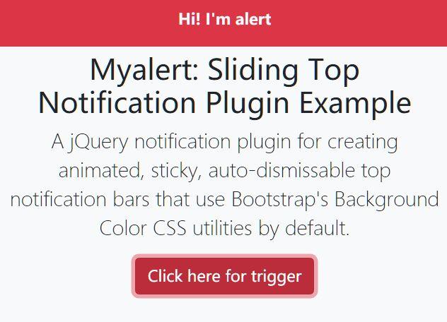 Sliding Top Notification Plugin - jQuery Myalert