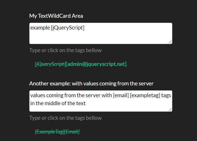 Add Wildcards To Textareas With The textWildCardArea.js Plugin