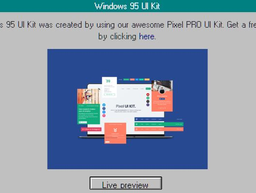 Retro Windows 95 Style UI Framework Based On jQuery And Bootstrap 4