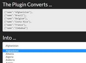 Convert JSON Data to HTML - jQuery Miranda.js