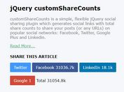 Flexible And Easy Social Sharing Plugin For jQuery - customShareCounts