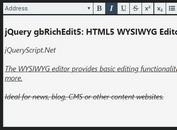 Simple HTML5 WYSIWYG Editor With jQuery - gbRichEdit5