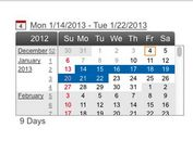 Scrollable jQuery Date Picker and Range Selector - Continuous Calendar