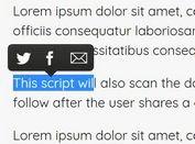 Share Selected Text On Twitter & Email - jQuery Selection Sharer