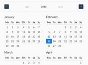 Customizable Year Calendar Plugin For Bootstrap 4