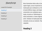 Generate Fixed Table Of Contents With Scrollspy - jQuery createTOC