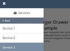 Hamburger Drawer Navigation With Sliding Sub-menus