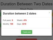 jQuery Based Date Duration Calculator - Date Calculator