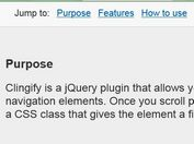 jQuery Plugin For Sticky Header Elements  - clingify