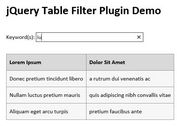 jQuery Plugin To Filter A Table Based On Input Field - Table Filter