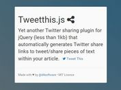 jQuery Plugin To Tweet Quotes From Your Articles - Tweetthis.js