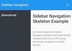 Responsive Sidebar Navigation Skeleton With Bootstrap