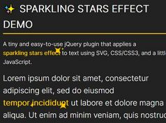 Sparkling Effect On Text Using jQuery - SparklingStars.js